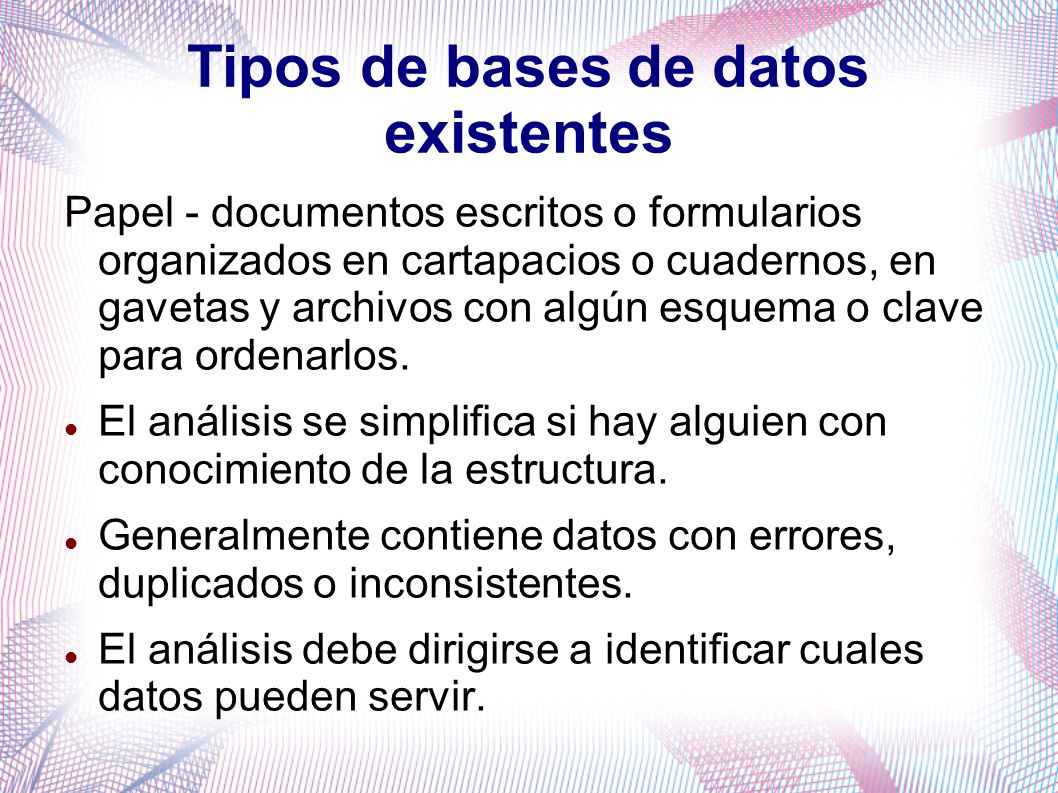 Tipos de bases de datos existentes