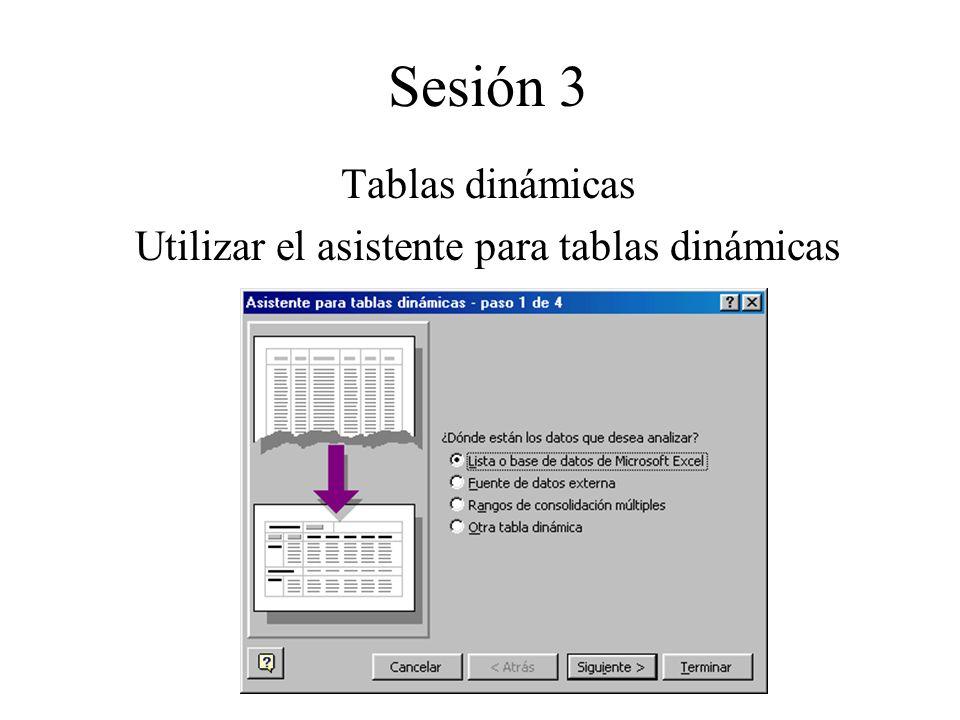 Utilizar el asistente para tablas dinámicas