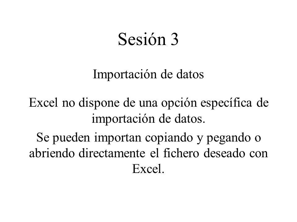 Excel no dispone de una opción específica de importación de datos.
