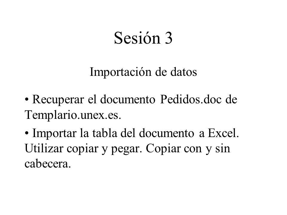 Sesión 3 Importación de datos