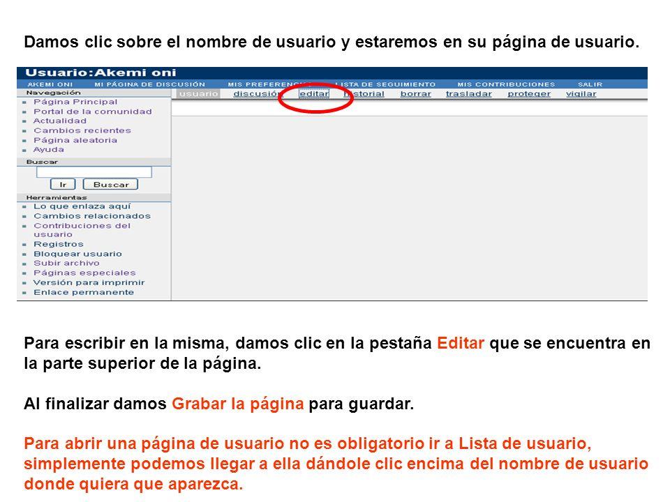 Damos clic sobre el nombre de usuario y estaremos en su página de usuario.