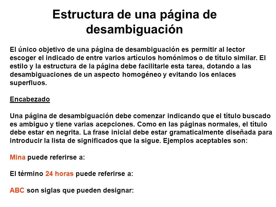 Estructura de una página de desambiguación