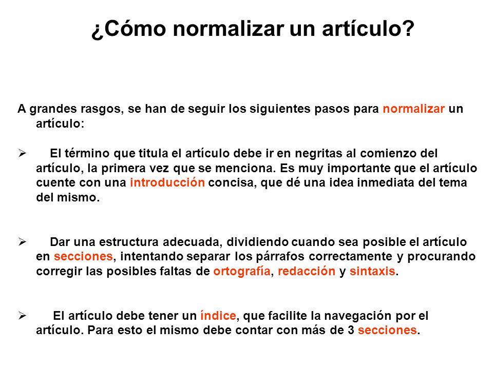 ¿Cómo normalizar un artículo