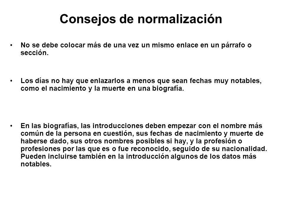 Consejos de normalización