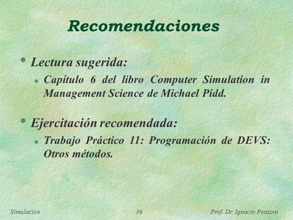Recomendaciones Lectura sugerida: Ejercitación recomendada: