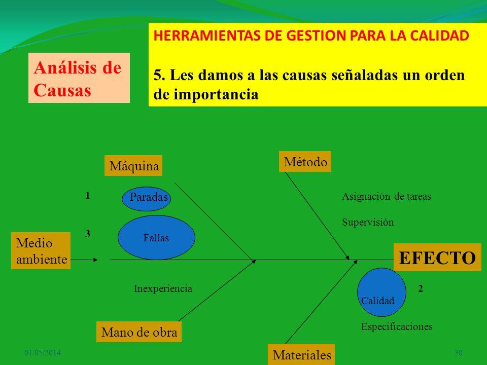 Análisis de Causas EFECTO HERRAMIENTAS DE GESTION PARA LA CALIDAD