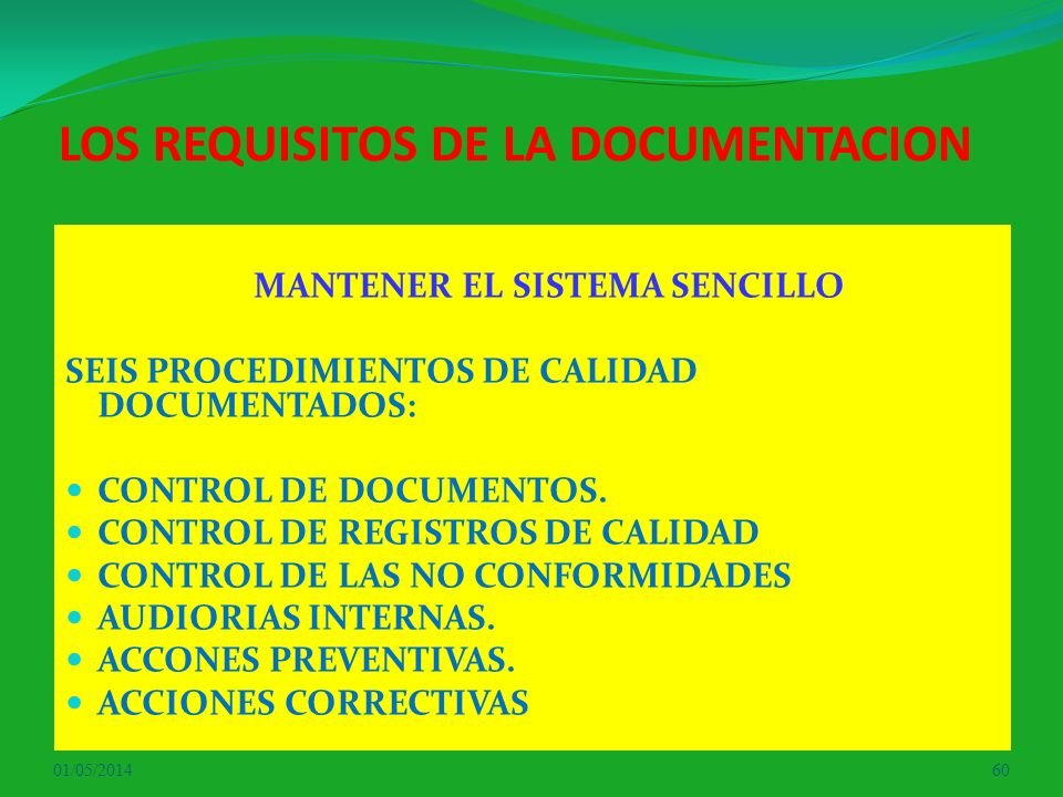 LOS REQUISITOS DE LA DOCUMENTACION
