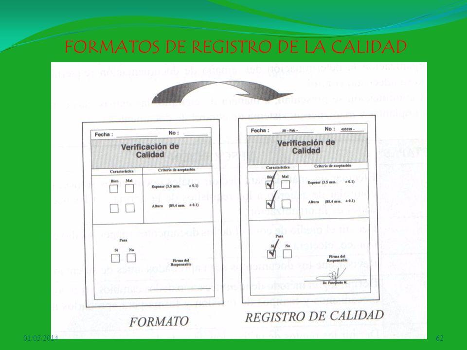 FORMATOS DE REGISTRO DE LA CALIDAD