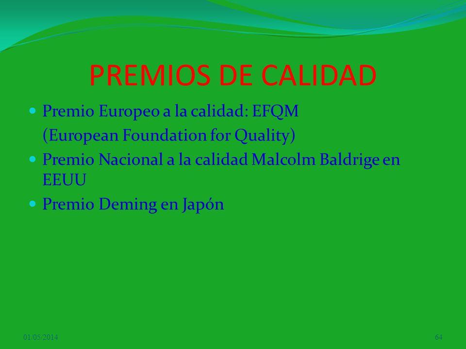 PREMIOS DE CALIDAD Premio Europeo a la calidad: EFQM