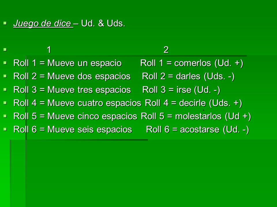 Juego de dice – Ud. & Uds. 1 2. Roll 1 = Mueve un espacio Roll 1 = comerlos (Ud. +)