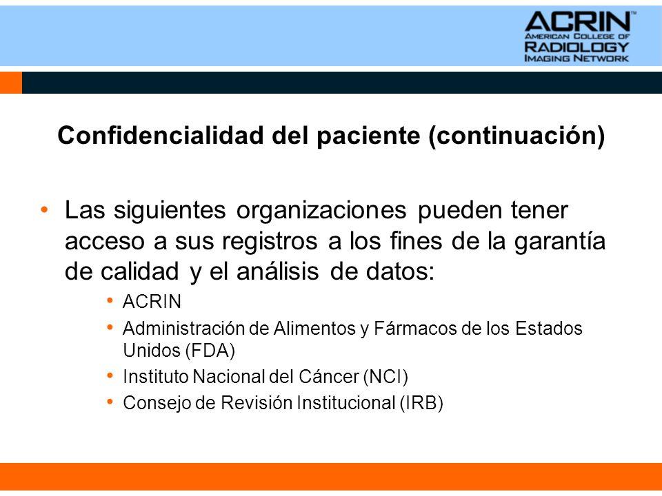 Confidencialidad del paciente (continuación)