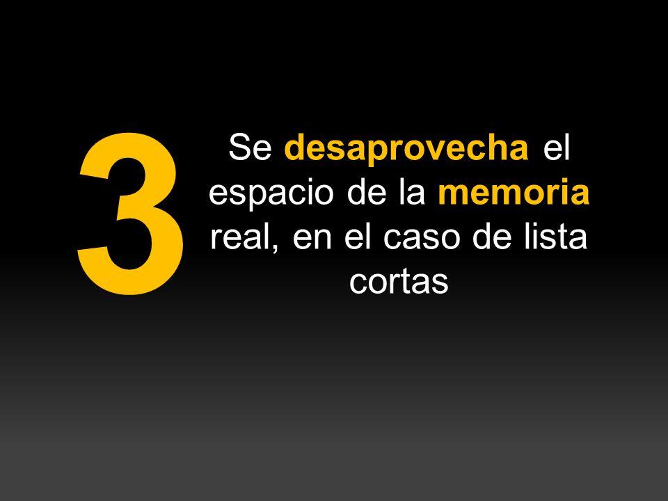3 Se desaprovecha el espacio de la memoria real, en el caso de lista cortas