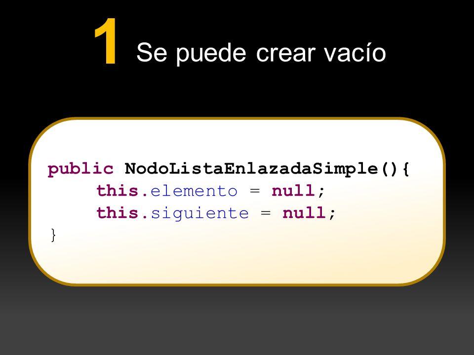 1 Se puede crear vacío public NodoListaEnlazadaSimple(){
