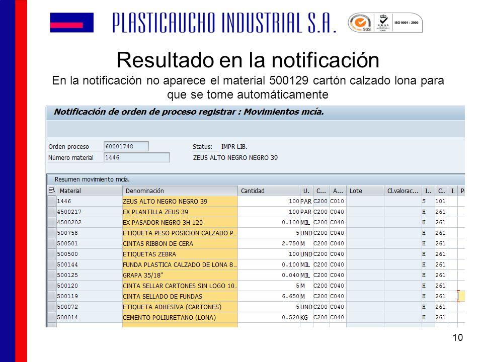 Resultado en la notificación En la notificación no aparece el material 500129 cartón calzado lona para que se tome automáticamente