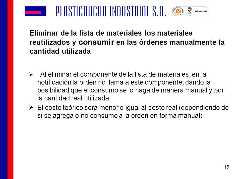 Eliminar de la lista de materiales los materiales reutilizados y consumir en las órdenes manualmente la cantidad utilizada