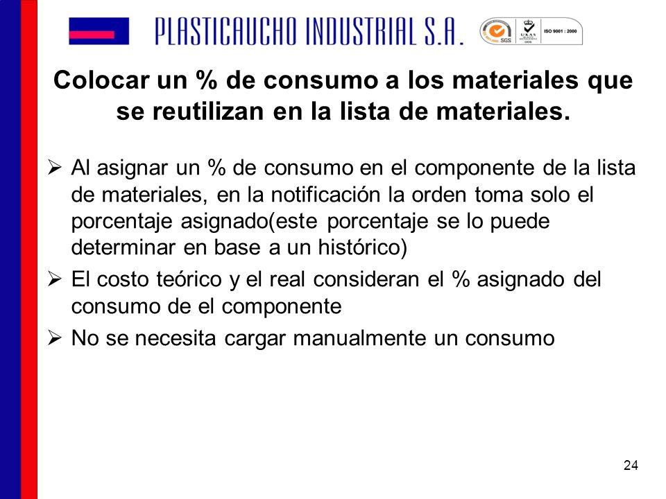 Colocar un % de consumo a los materiales que se reutilizan en la lista de materiales.