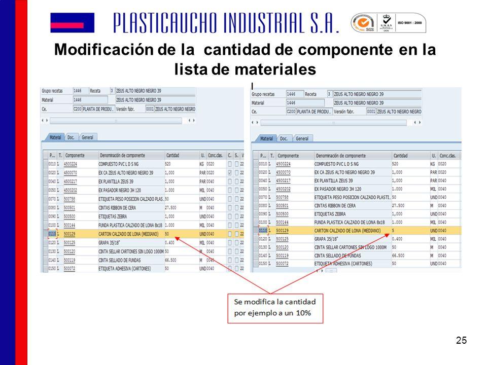 Modificación de la cantidad de componente en la lista de materiales