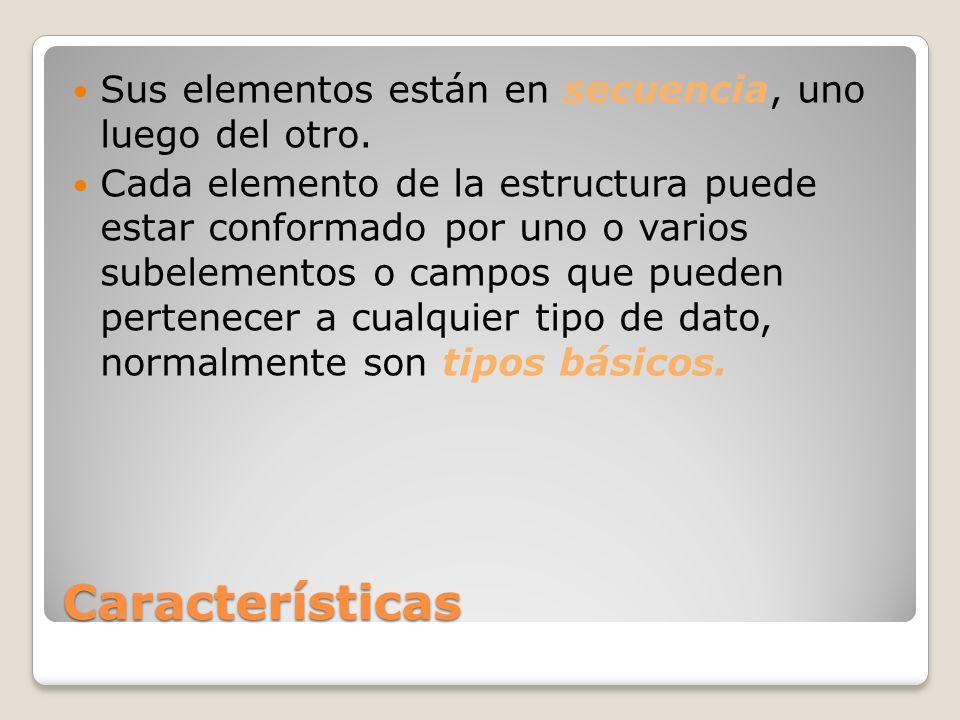 Características Sus elementos están en secuencia, uno luego del otro.