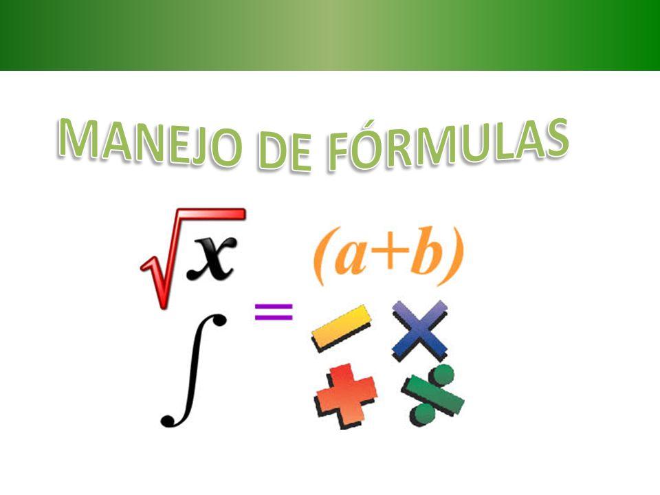 MANEJO DE FÓRMULAS