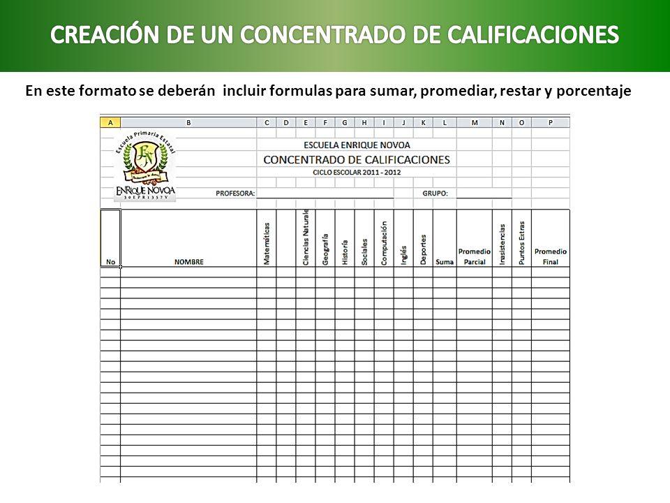 CREACIÓN DE UN CONCENTRADO DE CALIFICACIONES