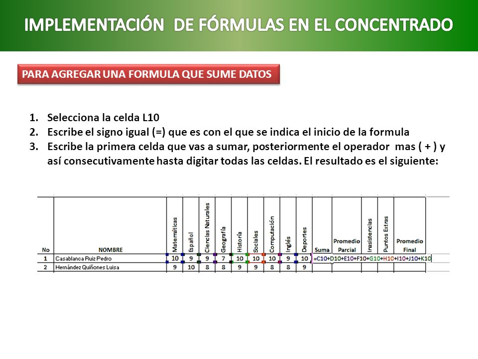 IMPLEMENTACIÓN DE FÓRMULAS EN EL CONCENTRADO