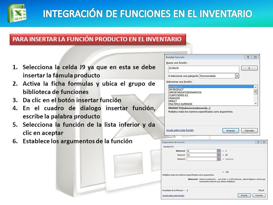 INTEGRACIÓN DE FUNCIONES EN EL INVENTARIO