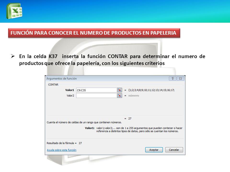 FUNCIÓN PARA CONOCER EL NUMERO DE PRODUCTOS EN PAPELERIA