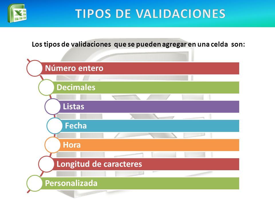 Los tipos de validaciones que se pueden agregar en una celda son:
