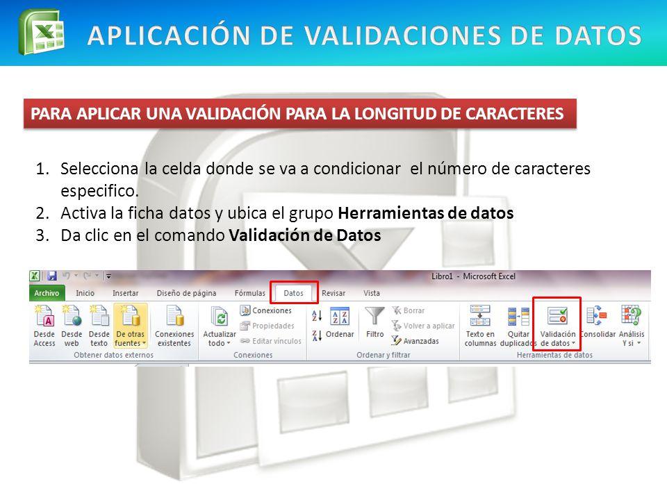 APLICACIÓN DE VALIDACIONES DE DATOS