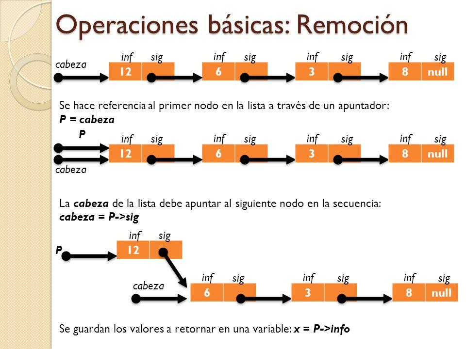 Operaciones básicas: Remoción