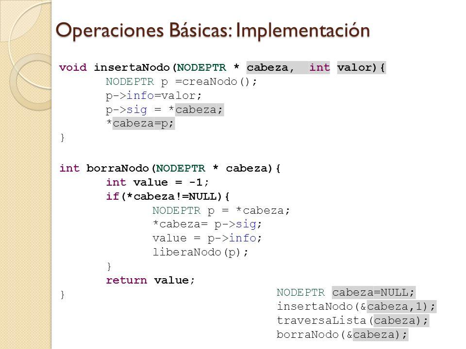 Operaciones Básicas: Implementación
