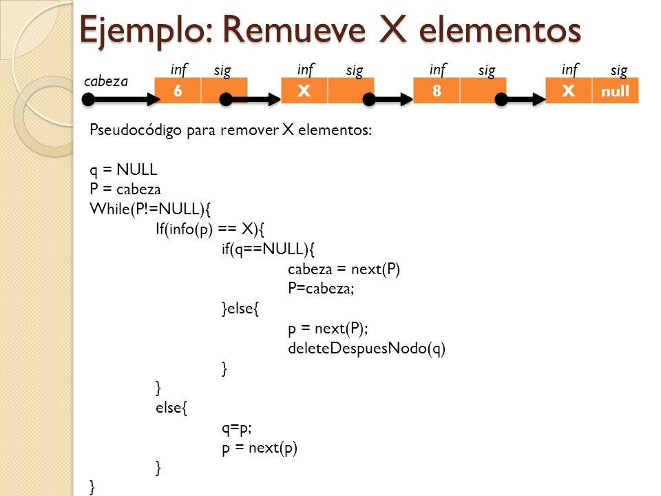 Ejemplo: Remueve X elementos