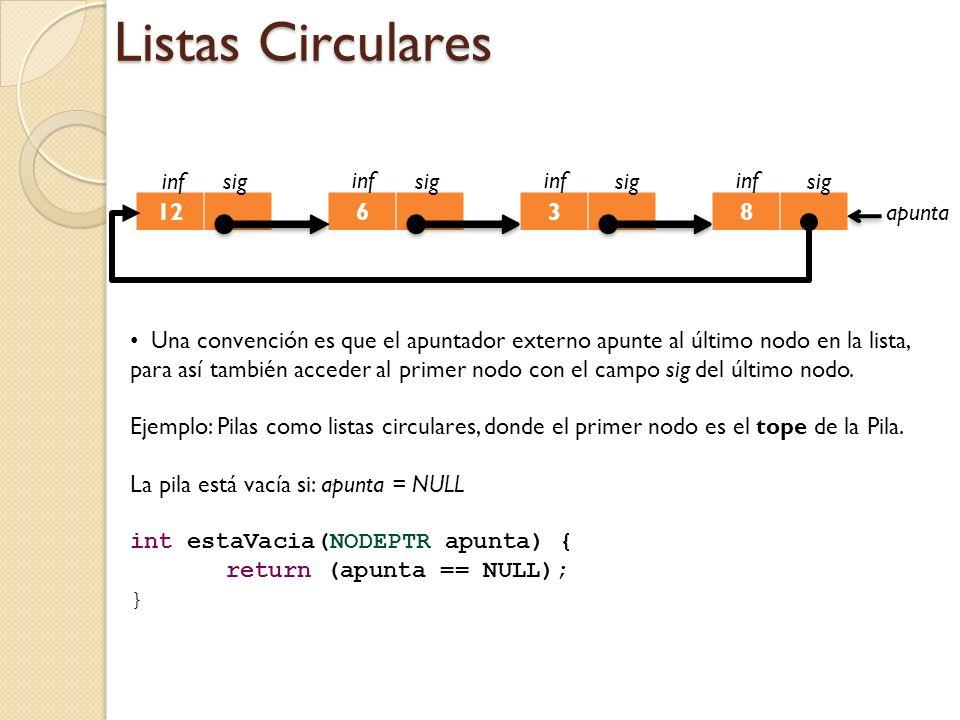 Listas Circulares inf sig inf sig inf sig inf sig 12 6 3 8 apunta
