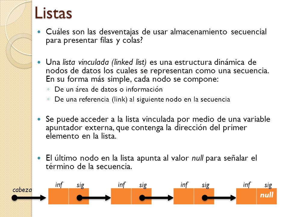Listas Cuáles son las desventajas de usar almacenamiento secuencial para presentar filas y colas