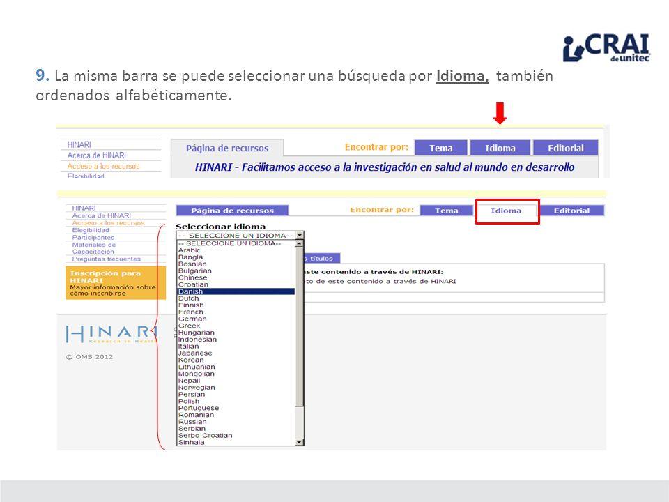 9. La misma barra se puede seleccionar una búsqueda por Idioma, también ordenados alfabéticamente.