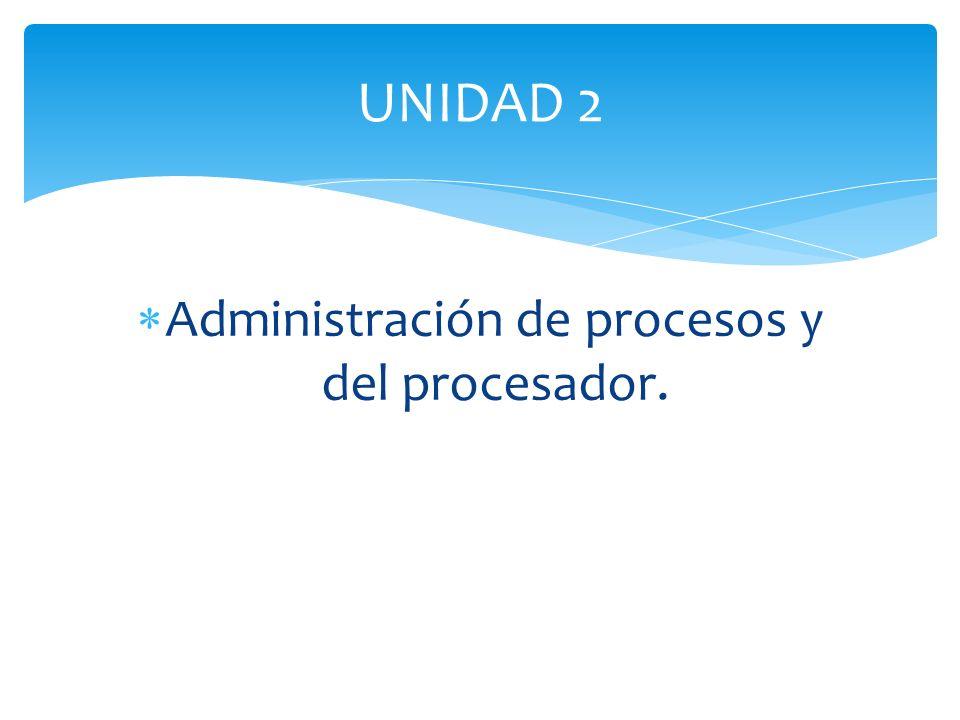 Administración de procesos y del procesador.