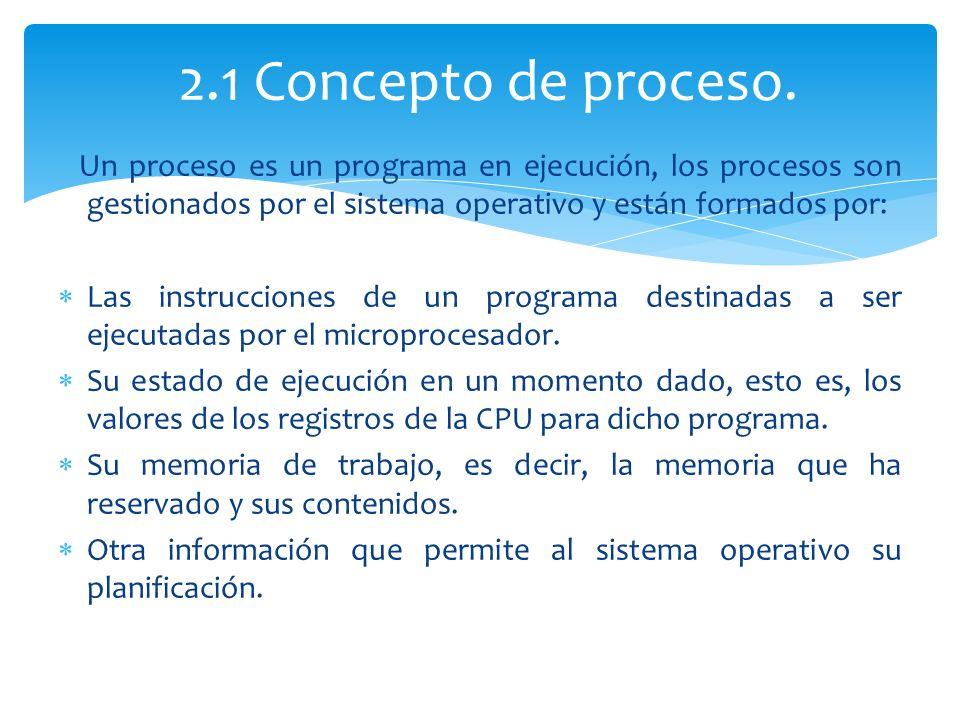 2.1 Concepto de proceso. Un proceso es un programa en ejecución, los procesos son gestionados por el sistema operativo y están formados por:
