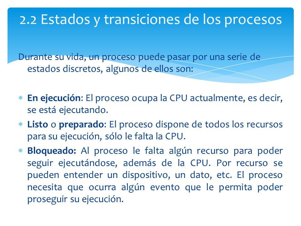 2.2 Estados y transiciones de los procesos