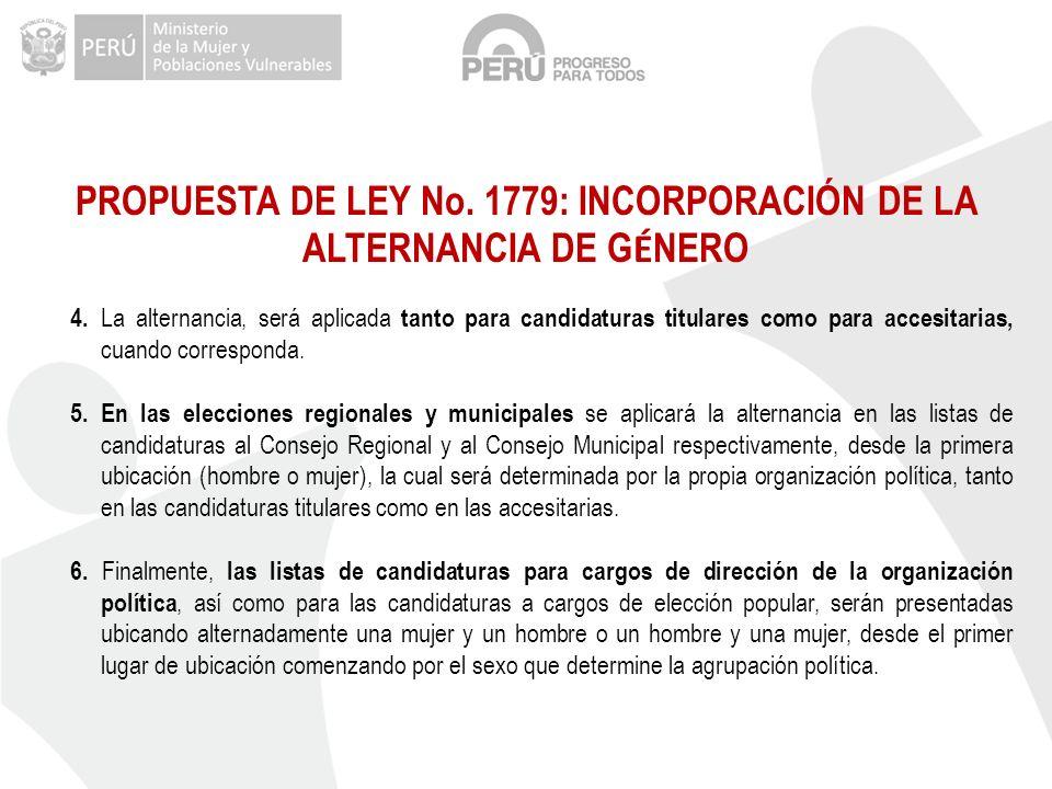 PROPUESTA DE LEY No. 1779: INCORPORACIÓN DE LA ALTERNANCIA DE GÉNERO