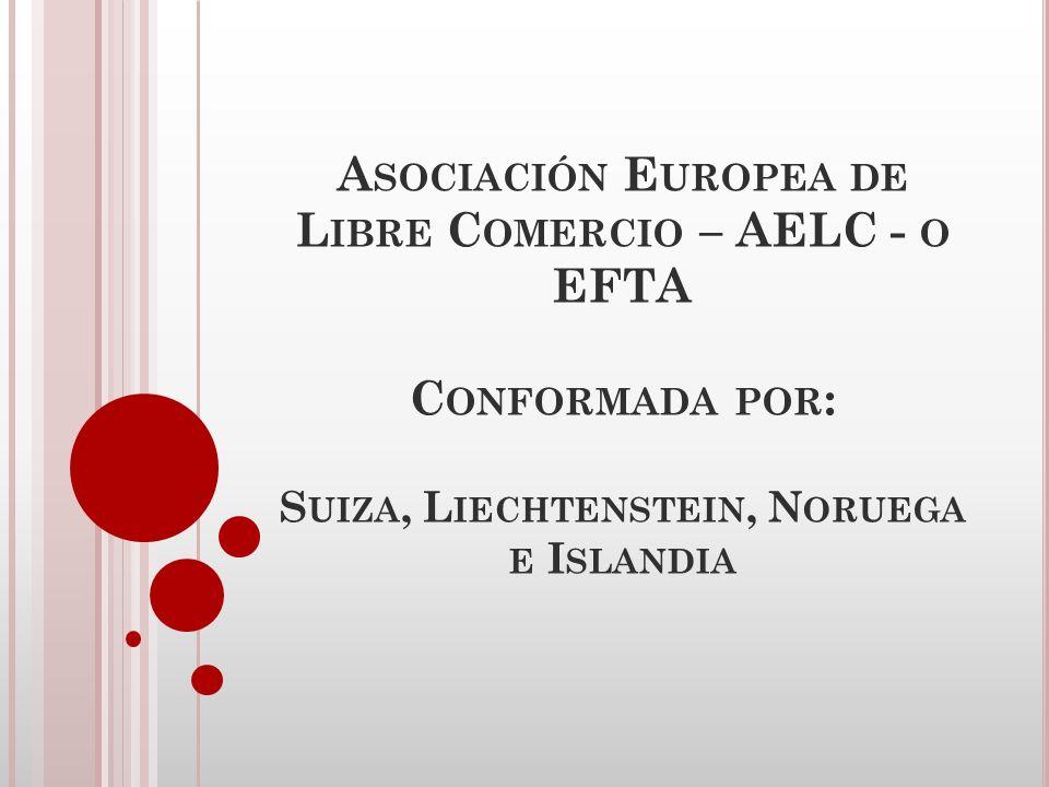 Asociación Europea de Libre Comercio – AELC - o EFTA Conformada por: Suiza, Liechtenstein, Noruega e Islandia