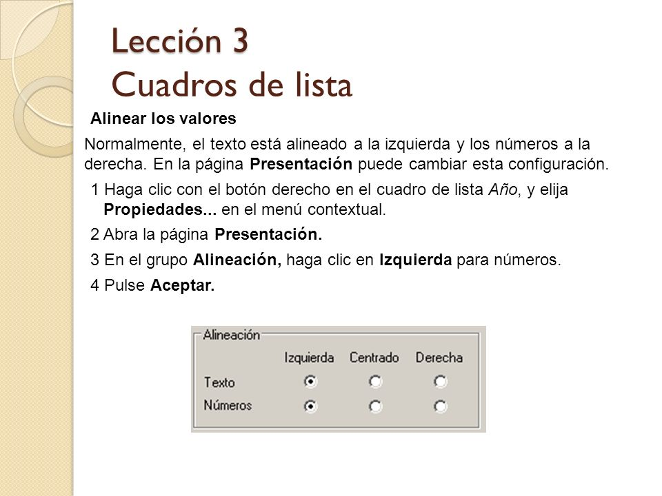 Lección 3 Cuadros de lista