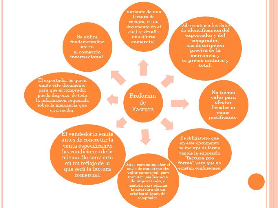 Proforma de Factura Variante de una factura de compra, es un documento en el cual se detalla una oferta comercial.