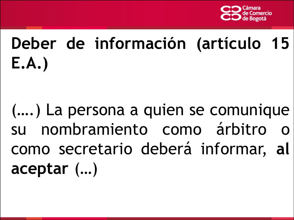 Deber de información (artículo 15 E.A.)