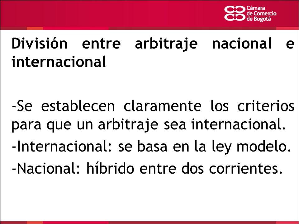 División entre arbitraje nacional e internacional
