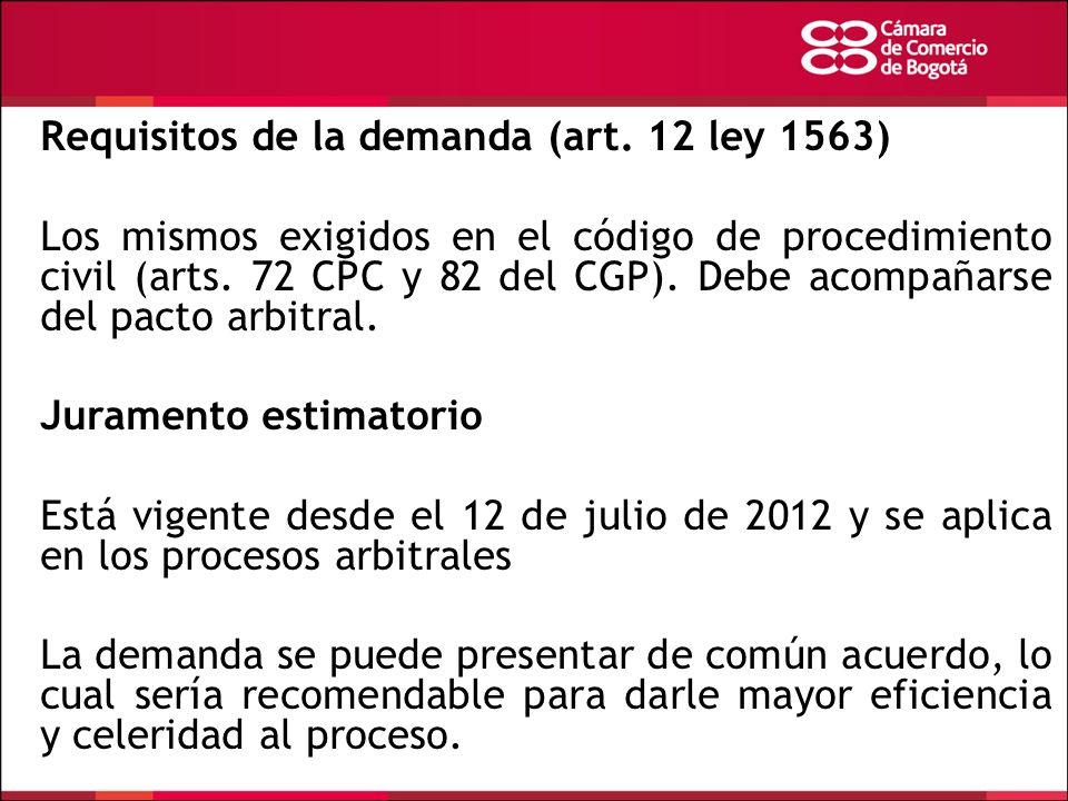 Requisitos de la demanda (art. 12 ley 1563)