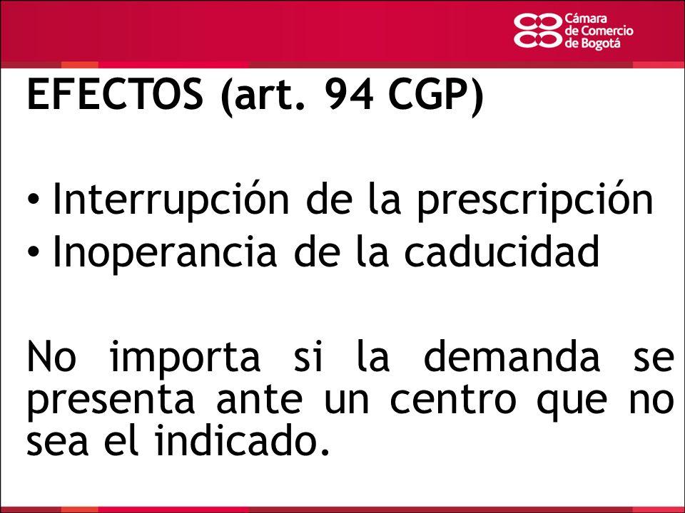 EFECTOS (art. 94 CGP) Interrupción de la prescripción. Inoperancia de la caducidad.