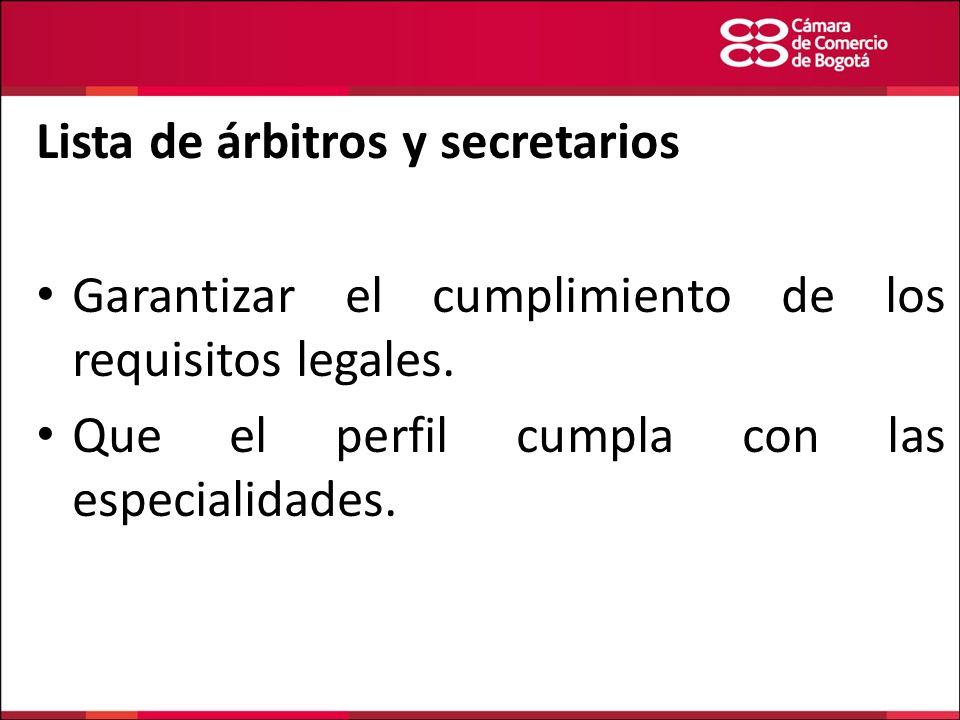 Lista de árbitros y secretarios