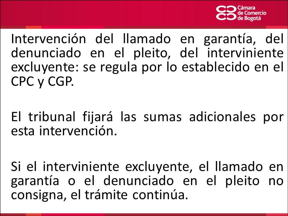 Intervención del llamado en garantía, del denunciado en el pleito, del interviniente excluyente: se regula por lo establecido en el CPC y CGP.