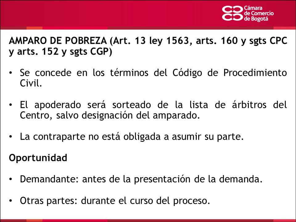 AMPARO DE POBREZA (Art. 13 ley 1563, arts. 160 y sgts CPC y arts