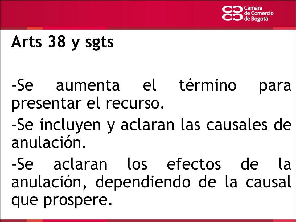 Arts 38 y sgts -Se aumenta el término para presentar el recurso. -Se incluyen y aclaran las causales de anulación.